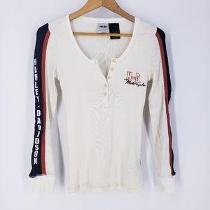 Harley Davidson Embroidered Thermal Henley Shirt